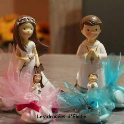 Figurine communiante fille tulle parrain - marraine