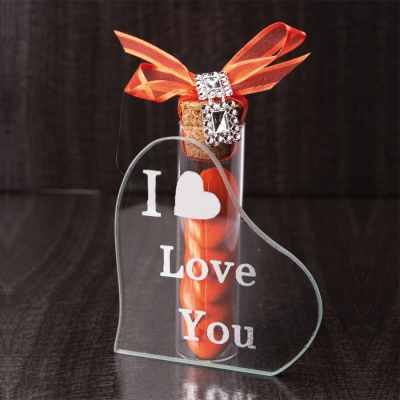Porte tube coeur i love you miroir